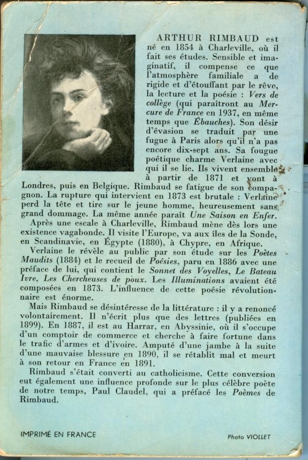 Le dos du livre de l'édition de 1960 des poèmes d'Arthur Rimbaud dans Le Livre de Poche.