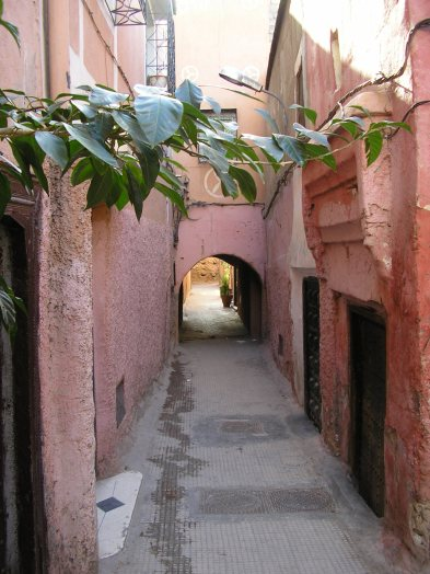 A street in the Medina, Marrakech, Morocco.