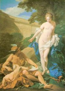 Hermes et Aphrodite; on voit les petites ailes mercuriennes aux chevilles et au casque.
