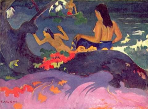 Fatata te Miti - tableau de Paul Gauguin. Lien Wikipedia sur l'image.