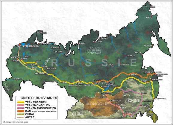 Le parcours du Transsibérien, c'est le long trait jaune sur la carte.