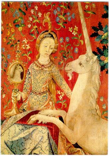 Fragment de La Dame à la Licorne, tapisserie célèbre dessinée en France et tissée en Flandres vers la fin du 15e siècle. Lien Wiki sur l'image.