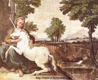 Domenichino, La Vierge et la Licorne, 1602, fresque du Palais Farnese, Rome. Lien sur l'image.