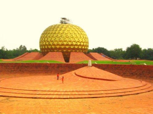 Le Matrimandir, Auroville, dans les environs de Puducherry, Tamil Nadu