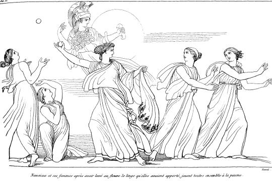 Nausicaa joue aux boules, ou au jeu de paume... Lien sur l'image.