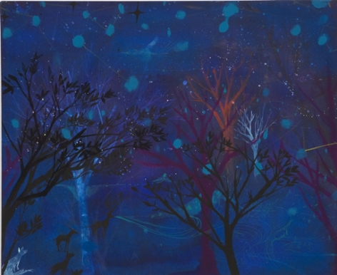 Trees in a Night Forest and Blue Stars par Miki Mochizuka Ito - 2007. Lien sur l'image.