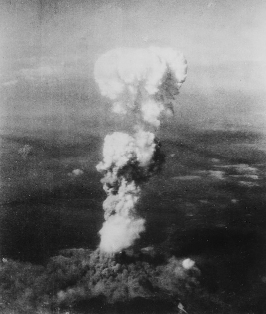 "Nuclear explosion over Hiroshima, on morning of August 6th, 1945, 08h15, photographed from the plane that had dropped the uranium atom bomb dubbed ""Little Boy."" The plane had been baptized ""Enola Gay,"" by the pilot of the bomber, colonel Paul W. Tibbets, after the name of his mother. Tibbets died at age 92 in 2007."