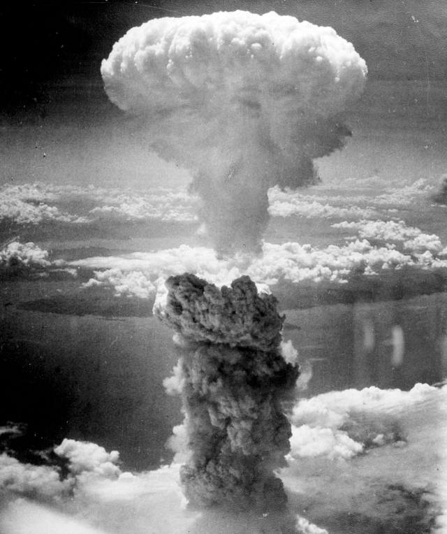 "Three days later on 9 August 1945 at 11.02 am,  the United States  dropped the plutonium atom bomb  ""Fat Man"" on  Nagasaki. The plutonium bomb had an explosive yield of 21,000 tons of TNT. 45,000 were killed immediately and 75,000 more were dead by the end of 1945."