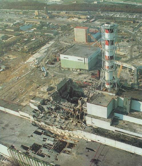 The hole, the warning, the eloquent and sobering message of a silent wound. What remained of Reactor 4 from the Chernobyl (Tchernobyl) nuclear plant in Ukraine (Ukrainia), some time after the explosion.