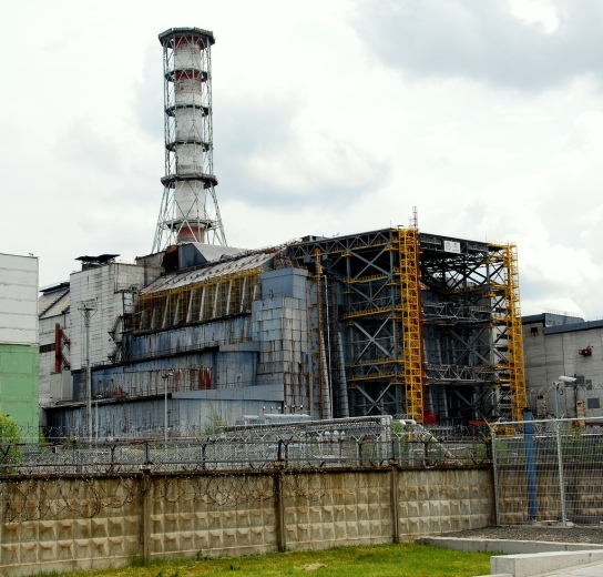 The Chernobyl Sarcophgus, probably at a later stage of being erected.