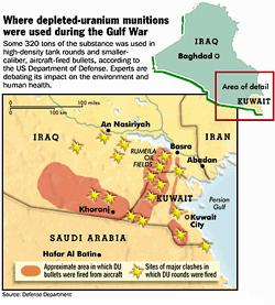 Map showing the areas where Depleted Uranium was used massively during the Gulf War.
