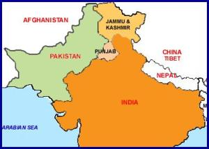 Punjab, North of India, East of Pakistan and Afghanistan.