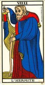 Tarot de Marseille, arcane tout neuf. VIIII (curieux qu'il ne soit pas écrit ainsi : IX)