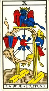 «La Roue de Fortune», l'arcane X (10) du Tarot de Marseille.