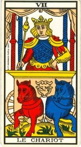 L'Arcane VII (7), Tarot de Marseille. Le Chariot.