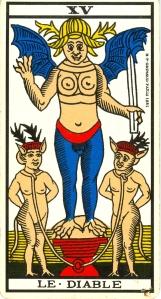 L'arcane XV (15), Tarot de Marseille. Homme? Femme? Fhommes?
