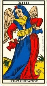«La Tempérance», (méditer sur le sens en termes de «temps»). L'arcane XIIII (14) du Tarot de Marseile. Meditation on a water bomb ...