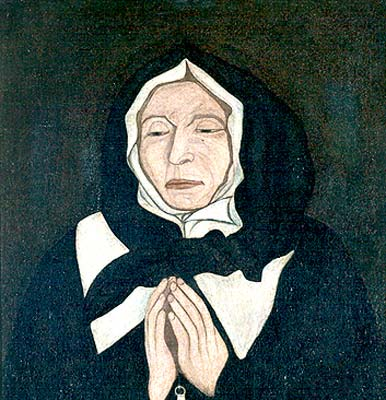 """Le vrai portrait de Marguerite Bourgeoys - un tableau peint rapidement en 1700, en Nouvelle-France, par Pierre le Ber, au chevet de Marguerite qui vient de décéder. Le tableau a été redécouvert à la faveur d'une restauration en 1963-1964, étouffé sous des fausses couches de portraits dits de Marguerite Bourgeoys. C'est """"Sainte Marguerite Bourgeoys"""", en fait (canonisée en 1982). Marguerite était née en France, à Troyes, en 1620, en Champagne. C'était un être remarquable à maints égards. Source en cliquant sur l'image (Maison Saint-Gabriel)."""