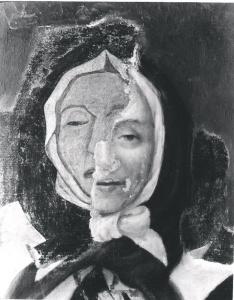 Le tableau de Pierre Le Ber en voie de restauration. Trouvé sur le site de l'Encyclopédie du Patrimoine Culturel de l'Amérique Française. L'original de cette image est la propriété du Musée Marguerite-Bourgeoys. Lien sur l'image vers la source sur l'Encyclopédie.