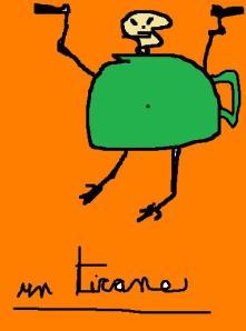C'est un Ticane. Photo prise avec un appareil de fabrication babilémienne, vraisemblablement par Loup Kibiloki. Ici, le Ticane soutient le ciel en prenant appui dans l'air. Les Ticanes sont des sortes de bouilloires polyglottes indestructibles.