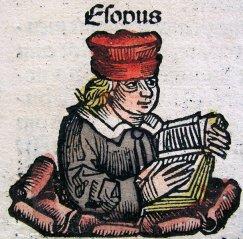 Ésope (Aesop). Illustration tirée des Chroniques de Nuremberg (1493) de Hartmann_Schedel. Source : cliquer sur l'image.