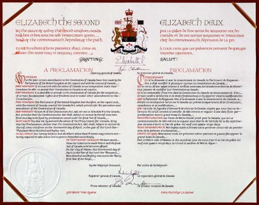 Proclamation royale de la Constitution canadienne de 1982.