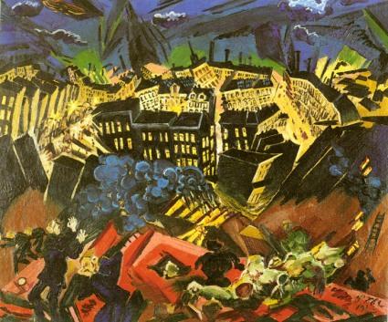 Ludwig Meidner, peintre allemand, 1884-1966. The Burning City; date de 1913. Source en cliquant sur l'illustration.