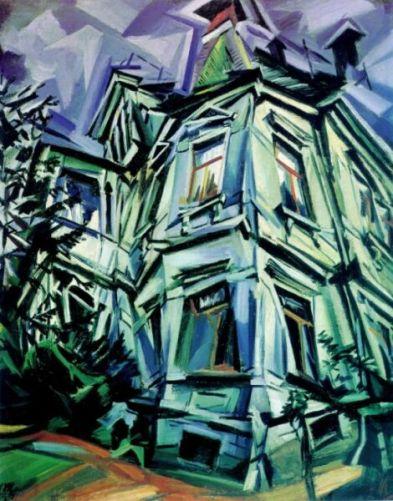 Tableau de Ludwig Meidner, peintre allemand, 1884-1966. The Corner House; je n'ai pas la date. Source en cliquant sur l'illustration.
