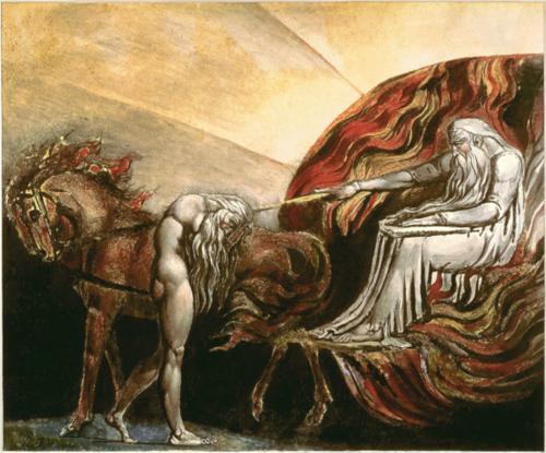 God-Yahweh juge Adam, dessin, encre et aquarelle de William Blake (1757 - 1827)