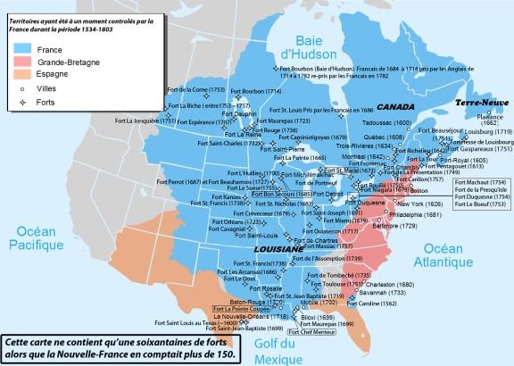 Carte de la Nouvelle-France avant 1763. Source : Wikipedia. Je ne connais malheureusement pas le nom de l'auteur. Diffusée ici under fair use.