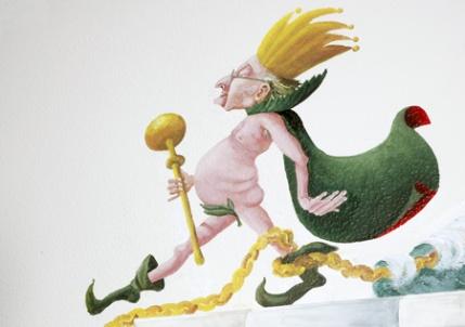 Illustration de  Kristine Frøkjær  pour le conte d'Andersen , « Kejserens nye klæder » ( Les Habits Neufs de l'Empereur. ) Source et site de Kristine Frøkjær : cliquer sur l'illustration. Under fair use.