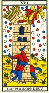 Arcane XVI, le 16, comme dans Louis XVI: «Ils veillèrent et travaillèrent à la clarté de seize bougies.» Les tisserands travaillent-ils sciemment à la perte du roi? Un pareil roi, et tout son entourage, n'ont déjà plus de têtes… Bonne lecture. (Illustration : Tarot de Marseille.)