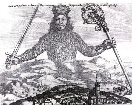 Fragment de la gravure de Abraham Bosse pour l'édition originale de «Léviathan» (1651) de Thomas Hobbes (1588 – 1679). Le corps de l'État, le corps de Léviathan, semble vêtu d'une cotte de maille. En réalité, quand on regarde de près, ces