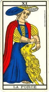 La Force, l'arcane XI (11), Tarot de Marseille. «Fe» est 11.