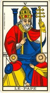 Arcane V (5), Le Pape, Tarot de Marseille.