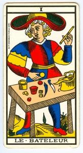L'arcane I, dit « Le bateleur », Tarot de Marseille.