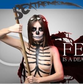 """Les femen, des airs familiers : les totalitarismes et la ressurgence de leurs symboles. «Femen, c'est la mort .. », peut-on lire. Totenkopf. Ici, c'est la mort du """"patriarcat"""". La bigotrie se cache sous n'importe quelle cause. (Source : femen.org)"""