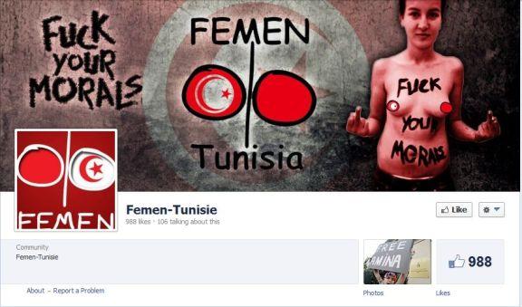 Saisie d'écran de Femen-Tunisia. En anglais.. Les Tunisiens sont majoritairement de langue arabe. Le français y est très important. Les femen se fichent des populations. Schizophrènes, les femen? Quel est l'agenda?