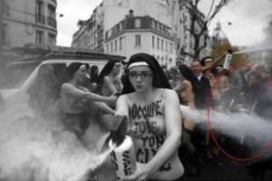 Les gaseuzes. Le femenarcat ? On peut apercevoir la poussette sur la droite, à l'arrière-plan ..  Les femen cherchent à provoquer la violence à paris durant une manifestation pacifique contre la loi Taubira («mariage pour tous») en 2012.