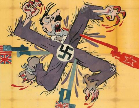C'est une extraordinaire caricature soviétique russe publiée durant la Deuxième Guerre Mondiale. Agence Tass. L'initiateur de la violence, en proie à la violence initiée, persistant dans la violence . C'est plus qu'une caricature : c'est un yantra. Support de méditation sur les lois profondes de la Nature. Source : cliquer sur l'illustration. © Copyright University of Nottingham 2013.