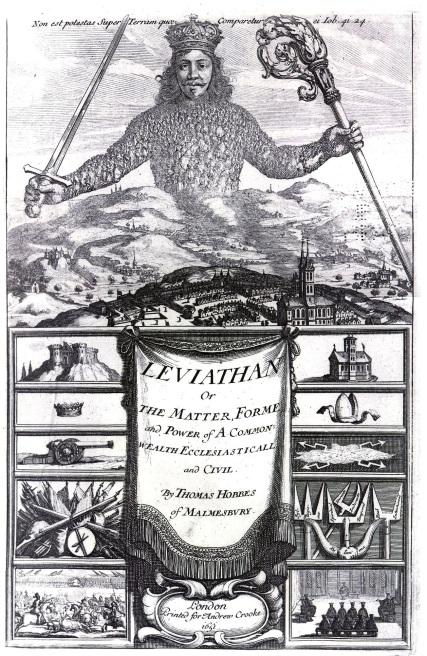 Léviathan, Thomas Hobbes. Page couverture, 1651.