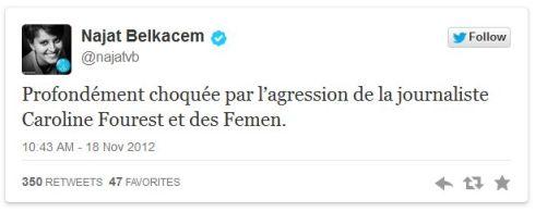 Tweet de Najat, 18 novembre 2012, saisie d'écran.