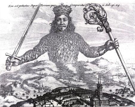 """Fragment de la gravure de Abraham Bosse pour l'édition originale de «Léviathan» (1651) de Thomas Hobbes (1588 – 1679). Le corps de l'État, le corps de Léviathan, semble vêtu d'une cotte de maille. En réalité, quand on regarde de près, ces """"mailles"""" sont un treillis tressé d'humains. « C'est le corps de l'État, dit Vaslav, … c'est la forme de nos vies. » (Clive Barker, Dans les collines, les Cités; Livre de sang.) Voir, plus bas, la citation complète de Barker qui reprend, dans les années 1980s (1984), le même thème archétypal que celui du corps du Léviathan."""