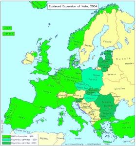 L'agressive expansion de l'Otan vers la Russie.  Données de 2004.