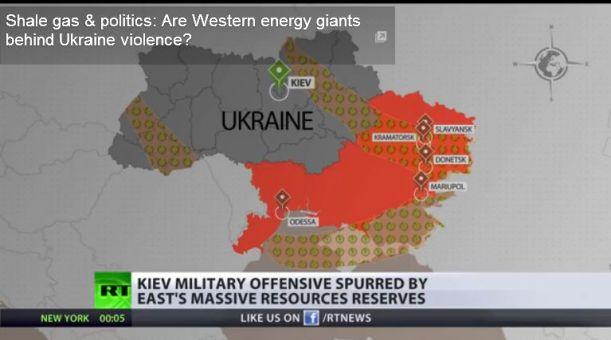 Les gisements de gaz de schiste (shale gas) pour l'ensemble de l'Ukraine. Saisie d'écran, Russia Today, 17 mai 2014.