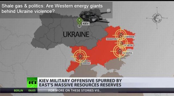 Gisements de gaz de schiste (shale) dans l'Est de l'Ukraine. Saisie d'écran, Russia Today, 17 mai 2014.
