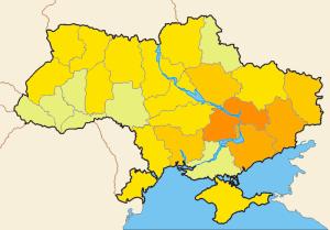 La production métallurgique en Ukraine exprimée en output monétaire de cette industrie, per capita. On peut voir que le per capita est le plus élevé dans les régions russophones (les couleurs les plus foncées, sur la droite, au Centre-Est, à l'Est, au Sud-Est).