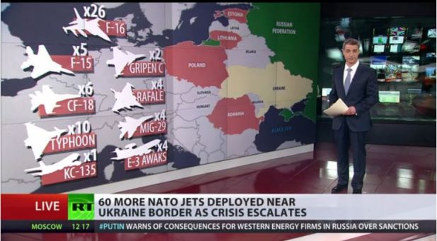 Au 30 avril 2014, l'Otan envoie 60 chasseurs bombariders de plus aux fontières de la Russie et de l'Ukraine. En date, des chasseurs-bombardiers de l'Otan (Nato) se trouvent maintenant en Roumanie, en Estonie, en Pologne, en Lithuanie, prêts à entrer en action, ..