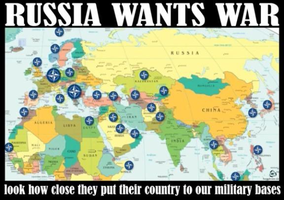 Caricature : LA RUSSIE VEUT LA GUERRE !  Vous voyez bien :  Ils placent leur territoire de plus en plus proche de nos bases ..