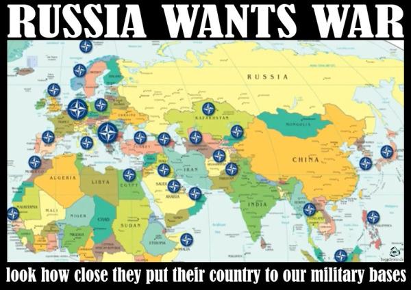 Caricature : LA RUSSIE VEUT LA GUERRE !  Vous voyez bien :  Ils placent leur territoire de plus en plus proche de nos bases militaires ..